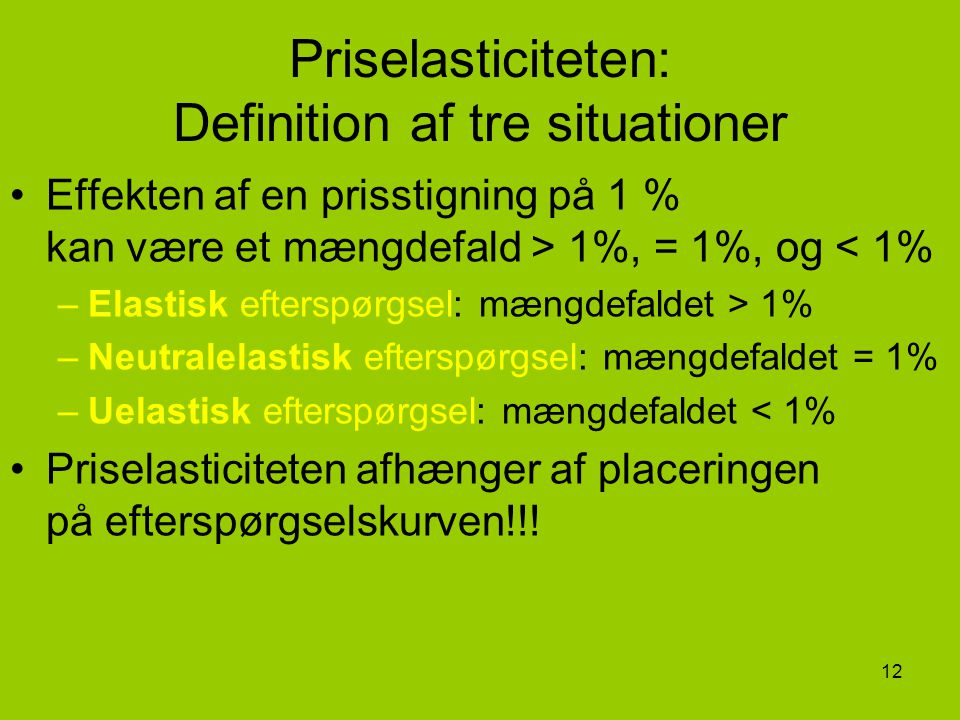 Priselasticiteten: Definition af tre situationer