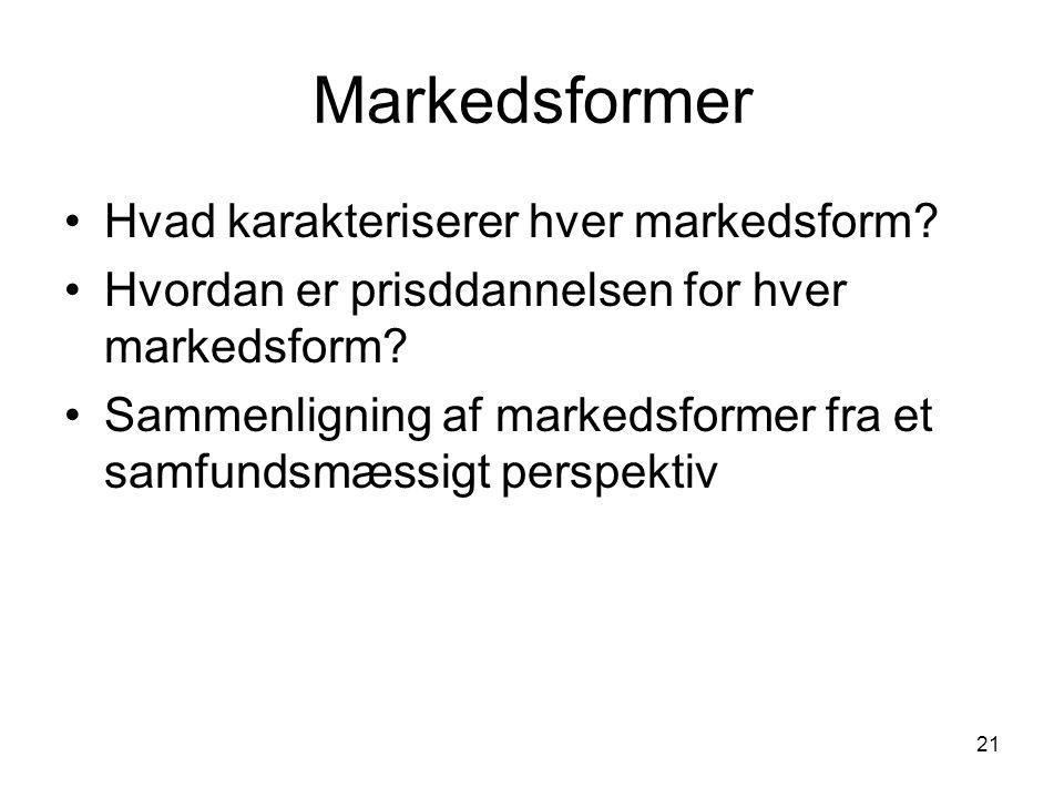 Markedsformer Hvad karakteriserer hver markedsform