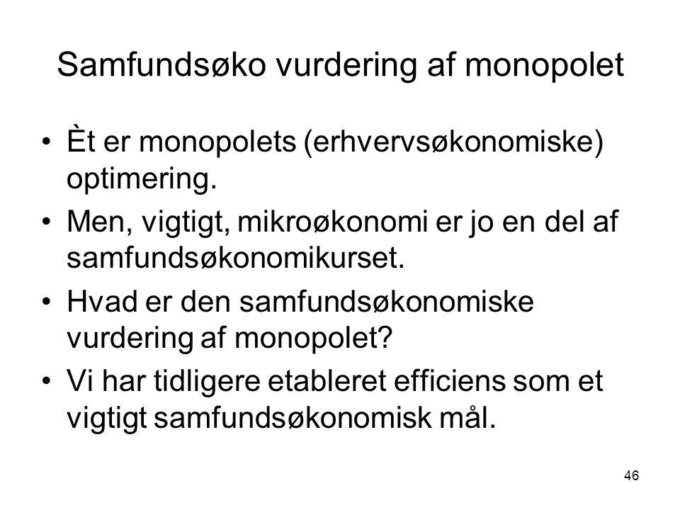 Samfundsøko vurdering af monopolet
