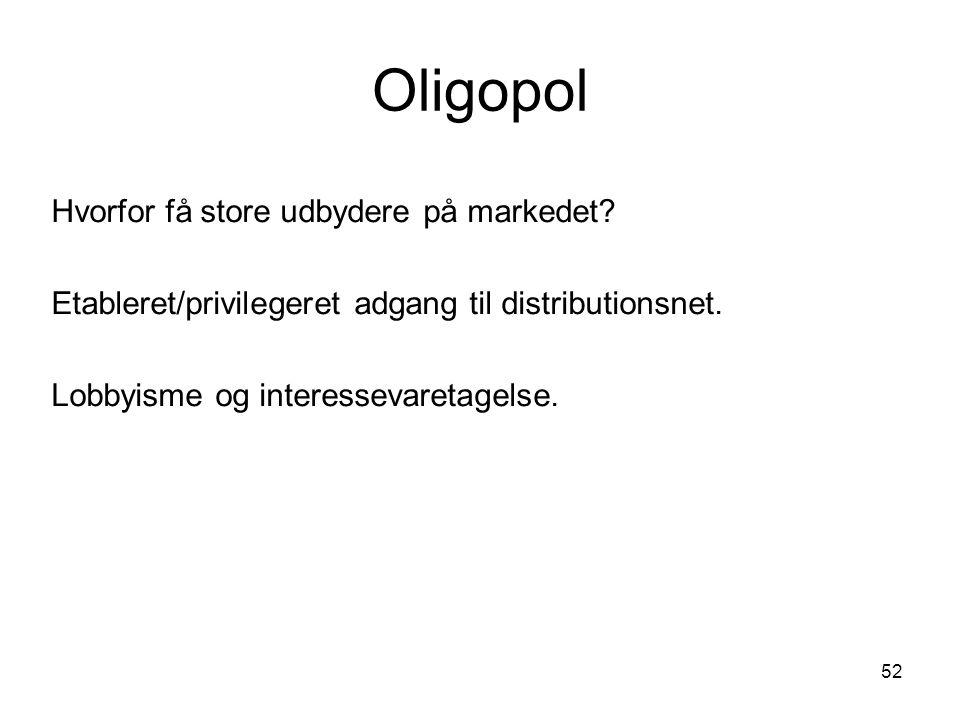 Oligopol Hvorfor få store udbydere på markedet