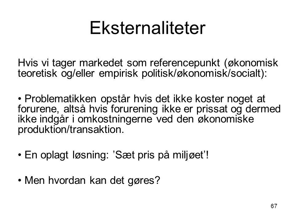 Eksternaliteter Hvis vi tager markedet som referencepunkt (økonomisk teoretisk og/eller empirisk politisk/økonomisk/socialt):