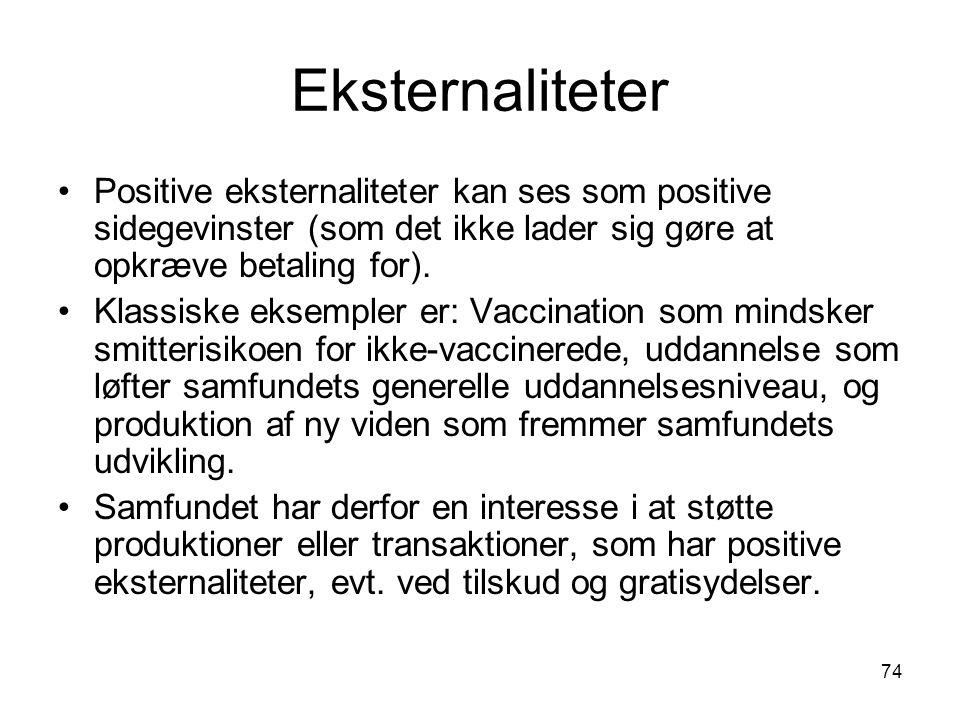 Eksternaliteter Positive eksternaliteter kan ses som positive sidegevinster (som det ikke lader sig gøre at opkræve betaling for).
