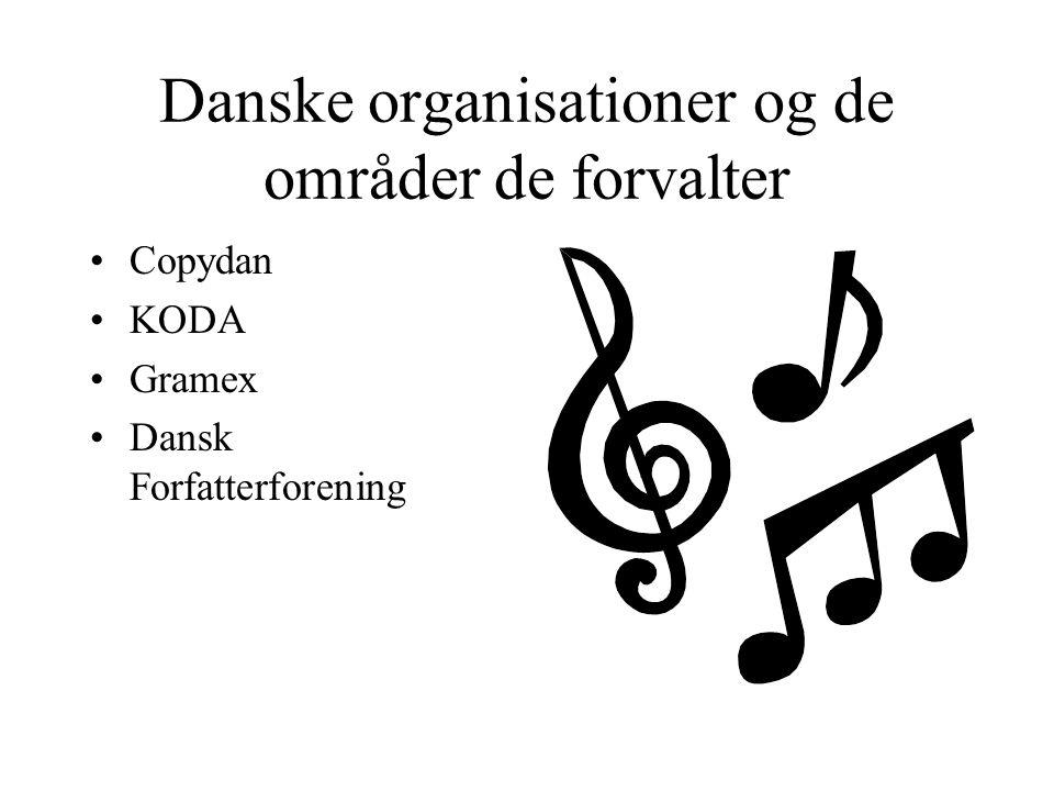 Danske organisationer og de områder de forvalter