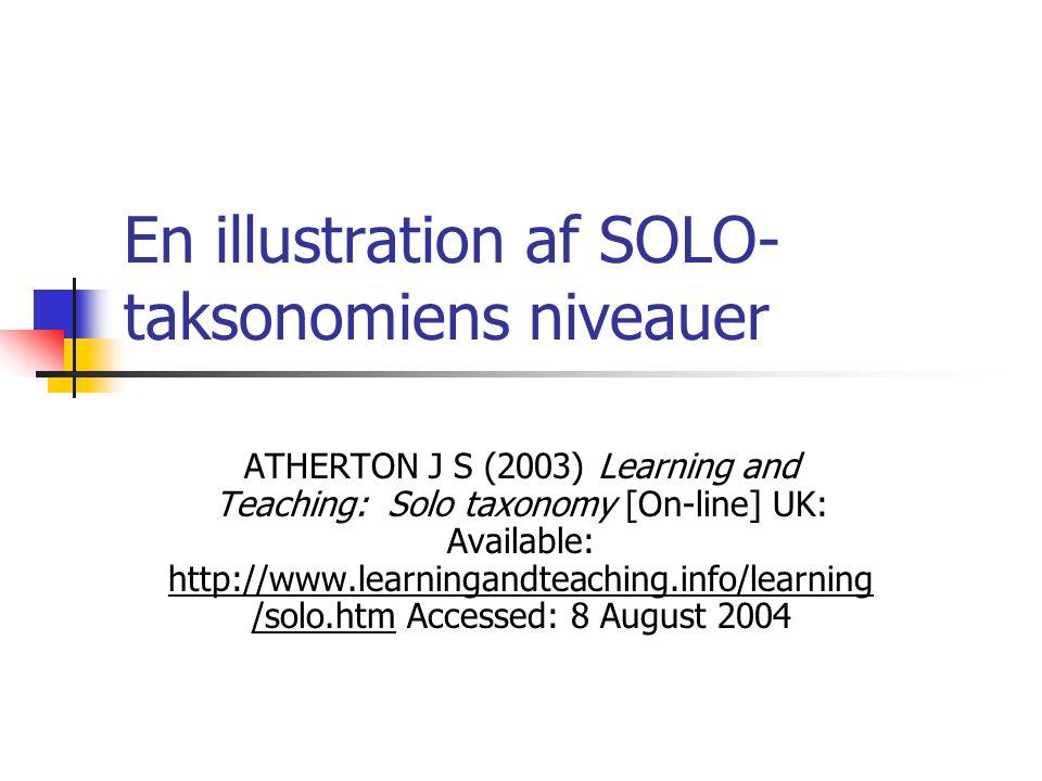 En illustration af SOLO-taksonomiens niveauer