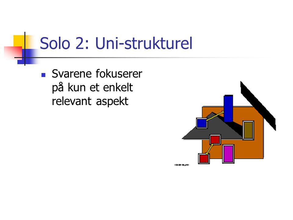 Solo 2: Uni-strukturel Svarene fokuserer på kun et enkelt relevant aspekt