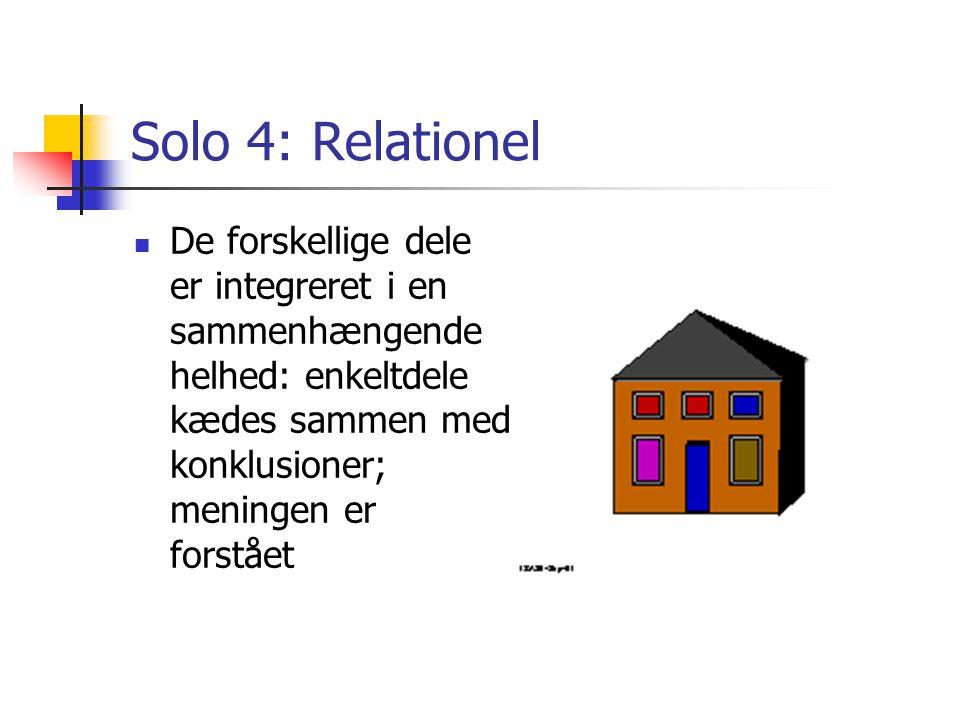 Solo 4: Relationel De forskellige dele er integreret i en sammenhængende helhed: enkeltdele kædes sammen med konklusioner; meningen er forstået.