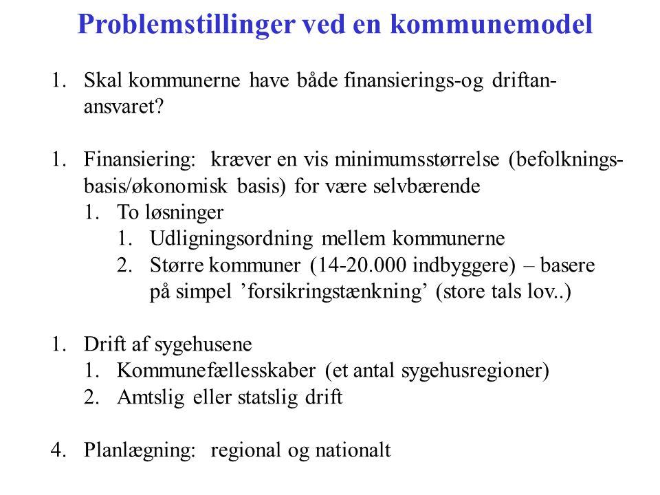 Problemstillinger ved en kommunemodel