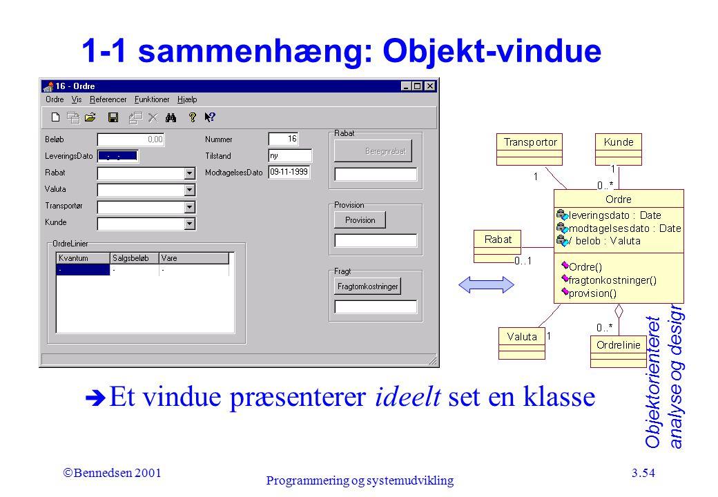 1-1 sammenhæng: Objekt-vindue