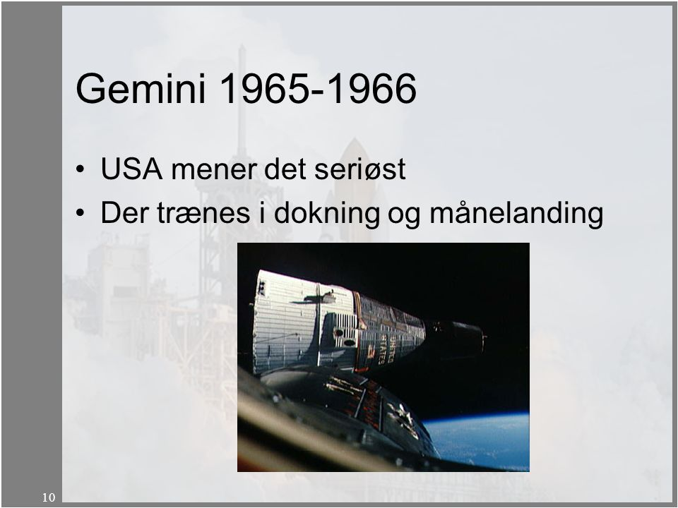 Gemini 1965-1966 USA mener det seriøst
