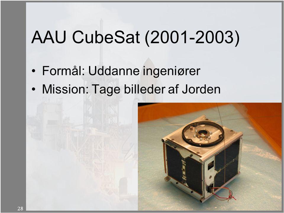 AAU CubeSat (2001-2003) Formål: Uddanne ingeniører