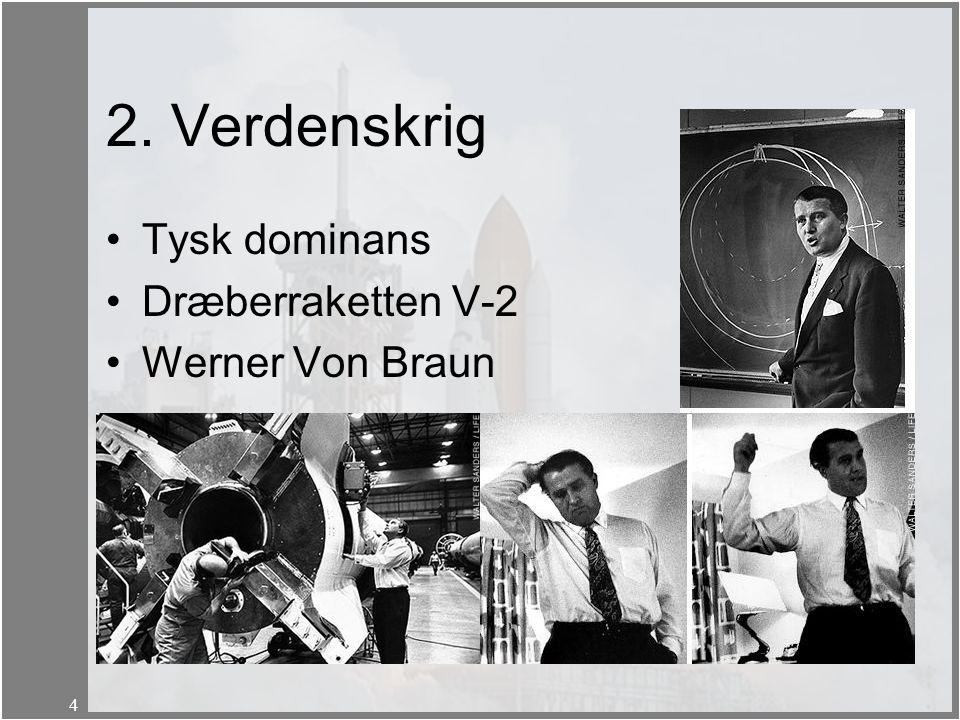 2. Verdenskrig Tysk dominans Dræberraketten V-2 Werner Von Braun