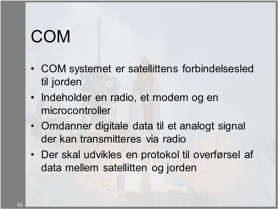 COM COM systemet er satellittens forbindelsesled til jorden