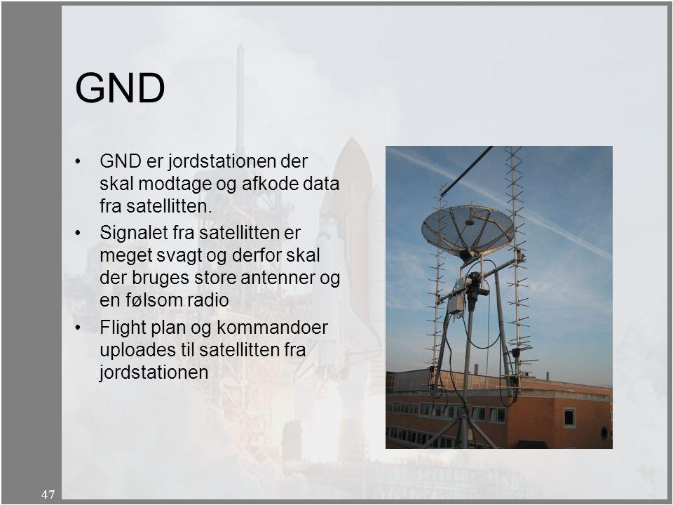 GND GND er jordstationen der skal modtage og afkode data fra satellitten.