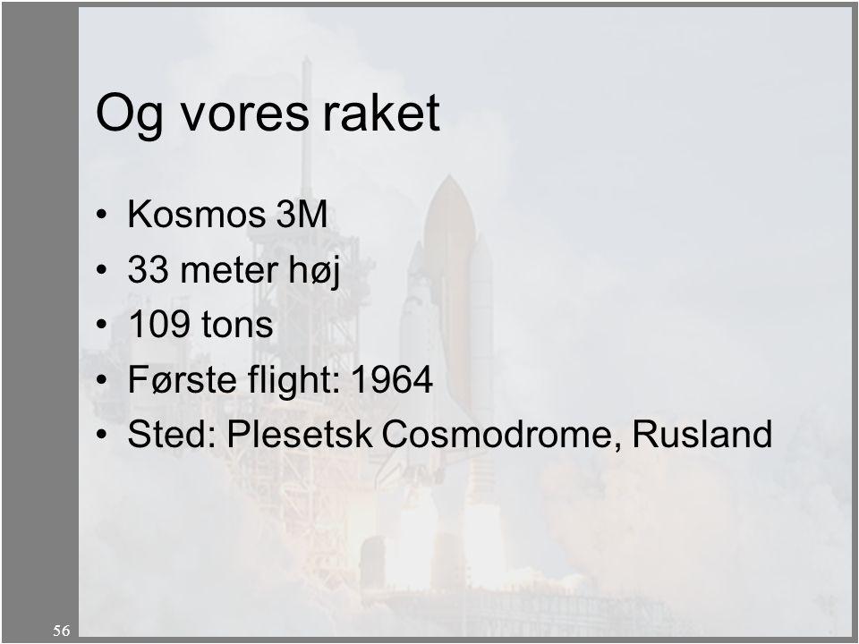 Og vores raket Kosmos 3M 33 meter høj 109 tons Første flight: 1964