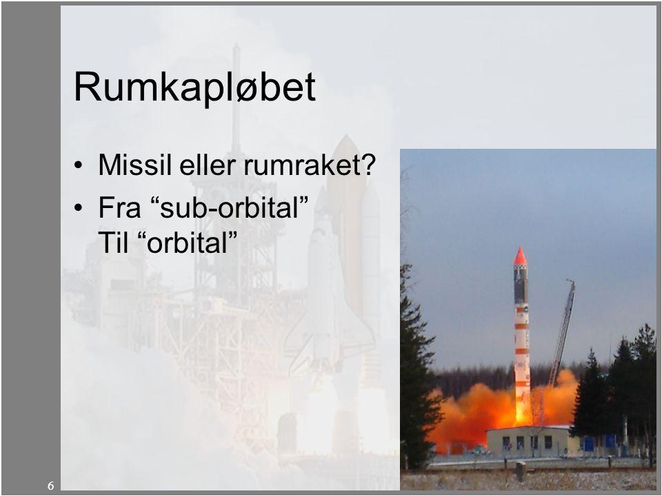 Rumkapløbet Missil eller rumraket Fra sub-orbital Til orbital