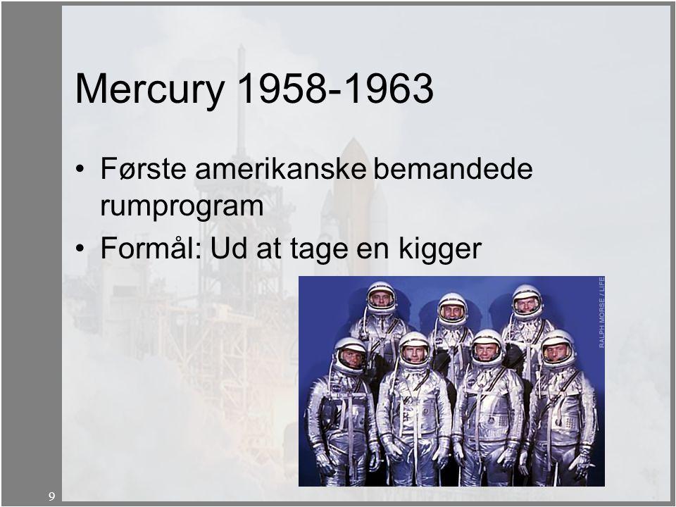 Mercury 1958-1963 Første amerikanske bemandede rumprogram