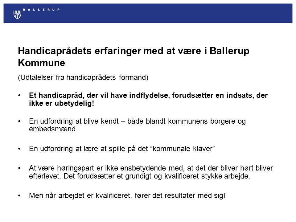 Handicaprådets erfaringer med at være i Ballerup Kommune