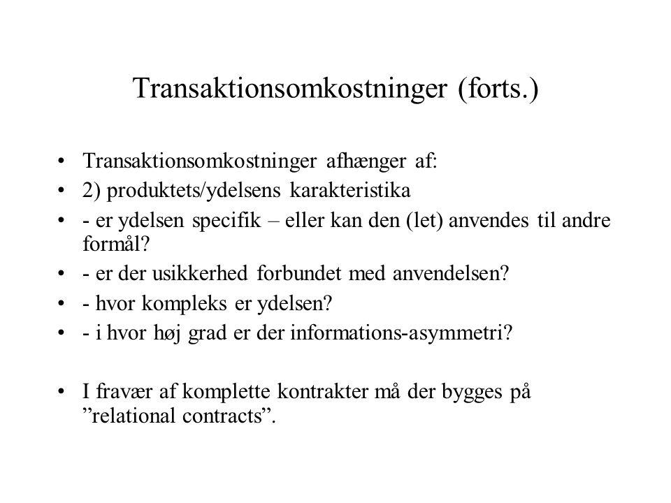 Transaktionsomkostninger (forts.)