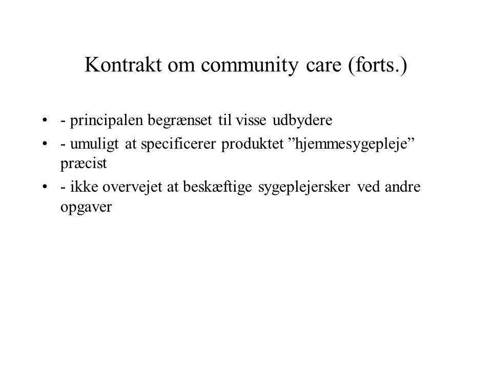 Kontrakt om community care (forts.)