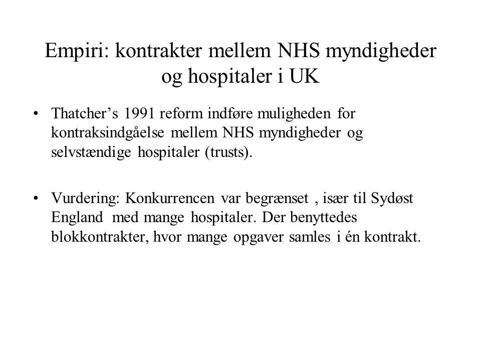 Empiri: kontrakter mellem NHS myndigheder og hospitaler i UK