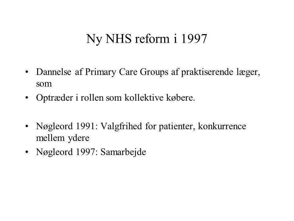 Ny NHS reform i 1997 Dannelse af Primary Care Groups af praktiserende læger, som. Optræder i rollen som kollektive købere.