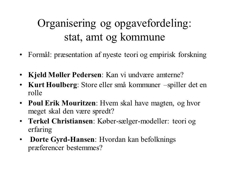 Organisering og opgavefordeling: stat, amt og kommune