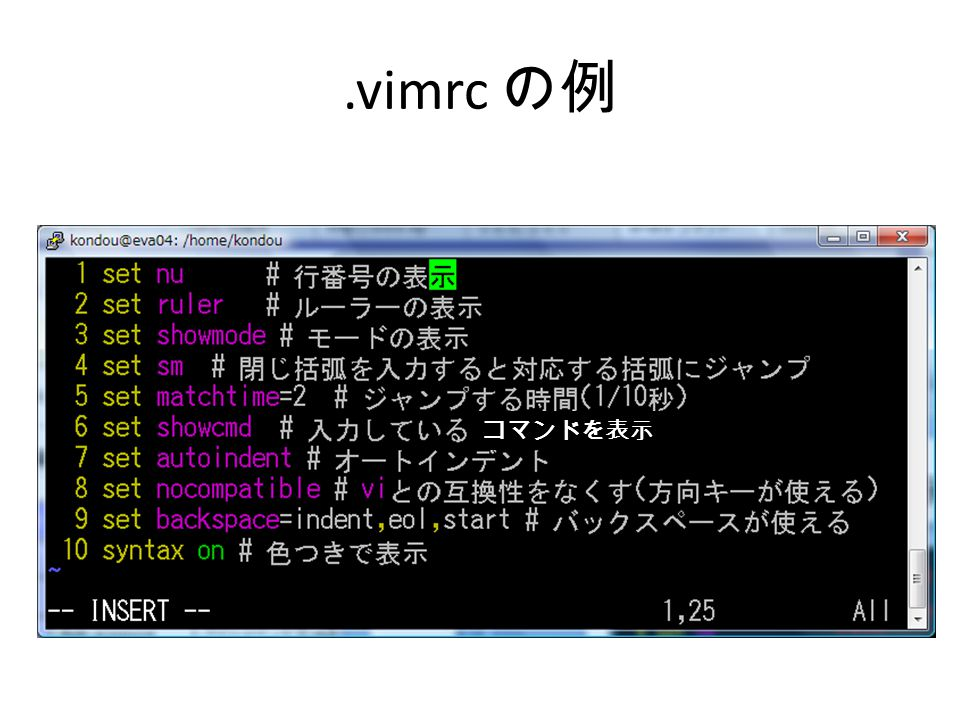 .vimrc の例 コマンドを表示