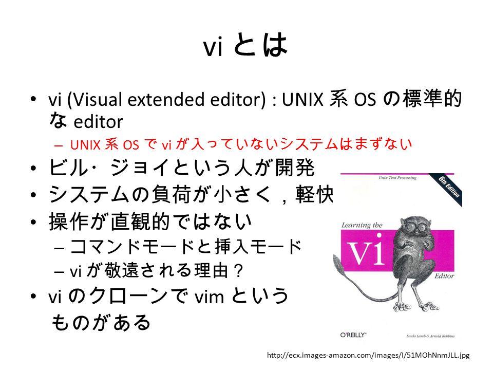 vi とは vi (Visual extended editor) : UNIX 系 OS の標準的な editor