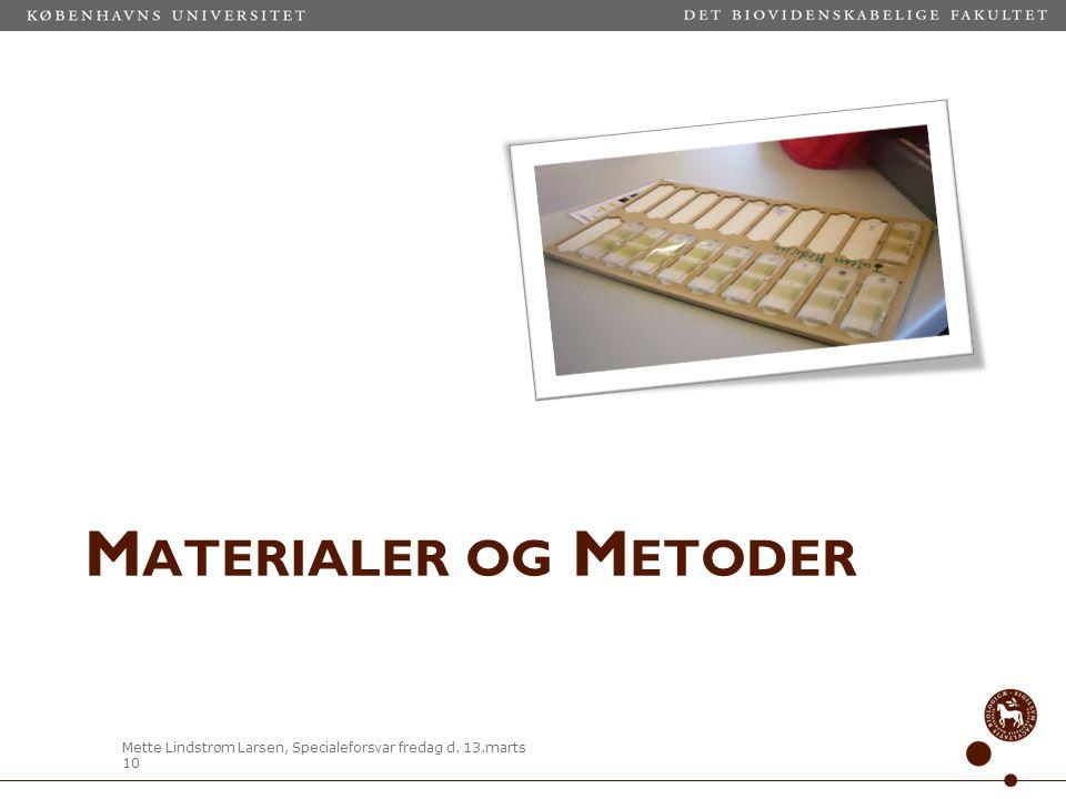 Materialer og Metoder Indledende undersøgelser: Equi Lab