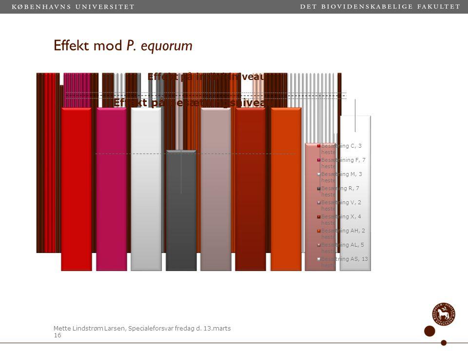 Effekt mod P. equorum Ser lidt nærmere på tallene for spolorm