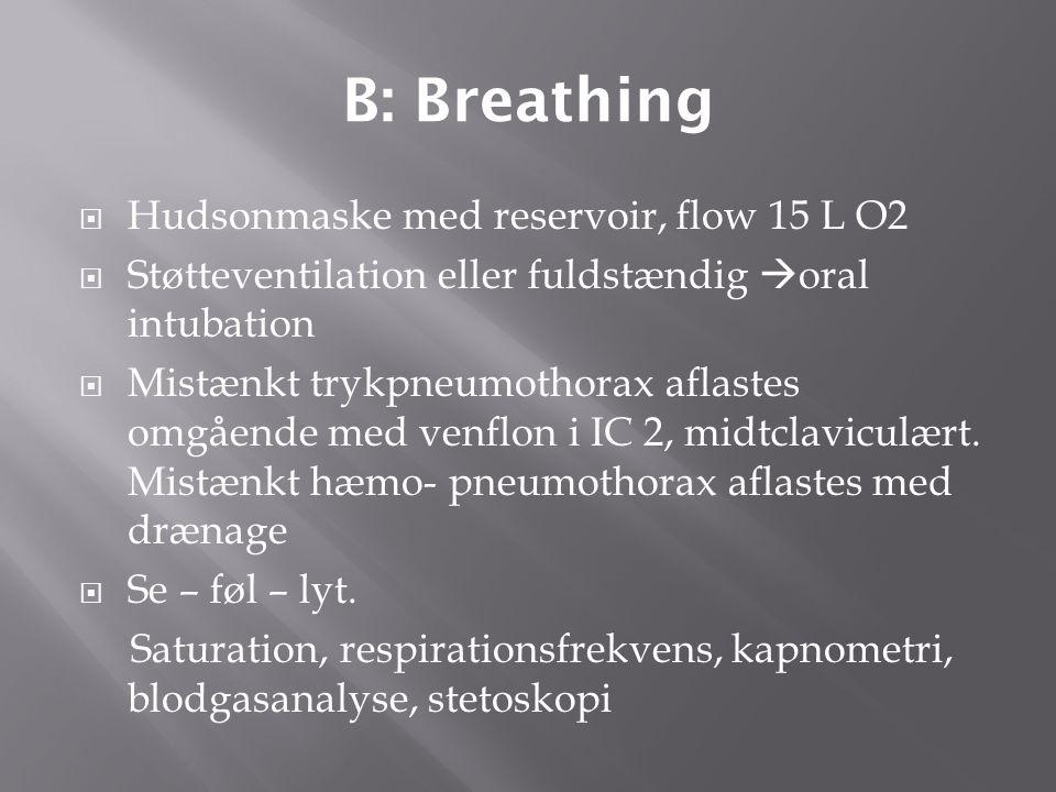 B: Breathing Hudsonmaske med reservoir, flow 15 L O2