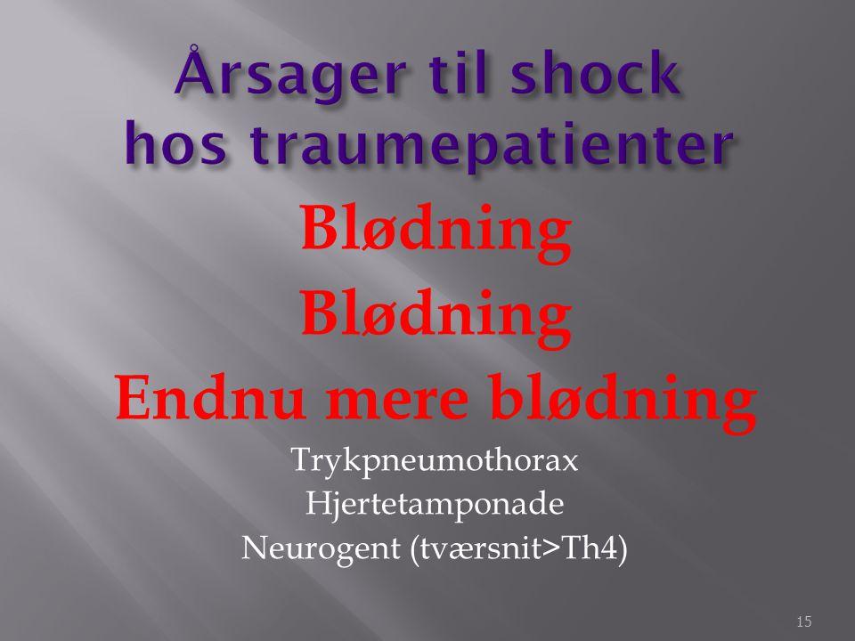 Årsager til shock hos traumepatienter