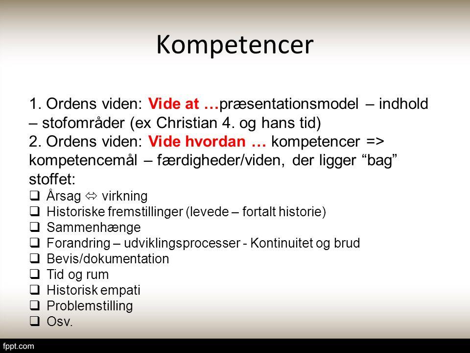 Kompetencer 1. Ordens viden: Vide at …præsentationsmodel – indhold – stofområder (ex Christian 4. og hans tid)