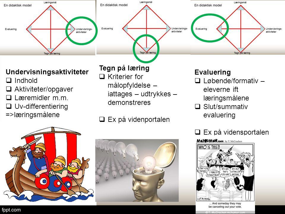 Tegn på læring Kriterier for målopfyldelse – iattages – udtrykkes – demonstreres. Ex på videnportalen.