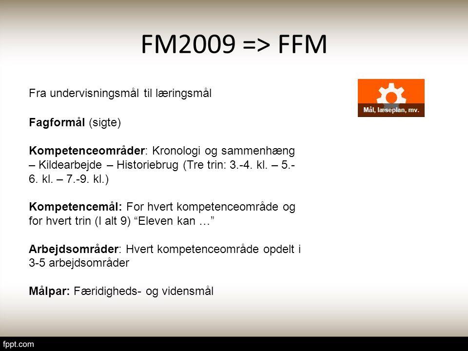 FM2009 => FFM Fra undervisningsmål til læringsmål Fagformål (sigte)