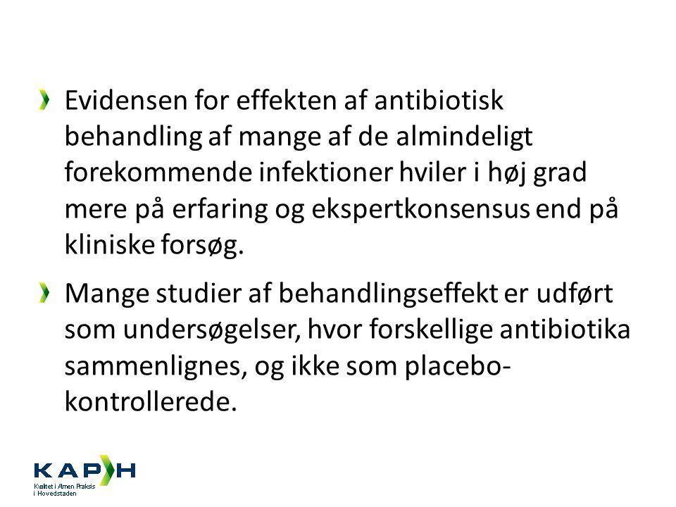 Evidensen for effekten af antibiotisk behandling af mange af de almindeligt forekommende infektioner hviler i høj grad mere på erfaring og ekspertkonsensus end på kliniske forsøg.