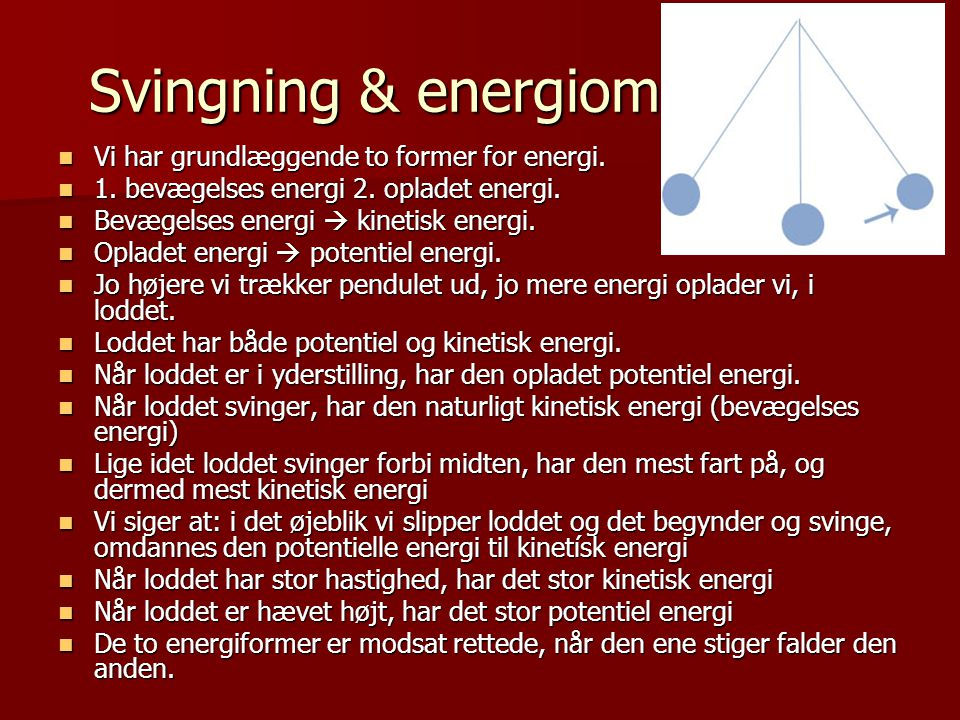 Svingning & energiomsætning