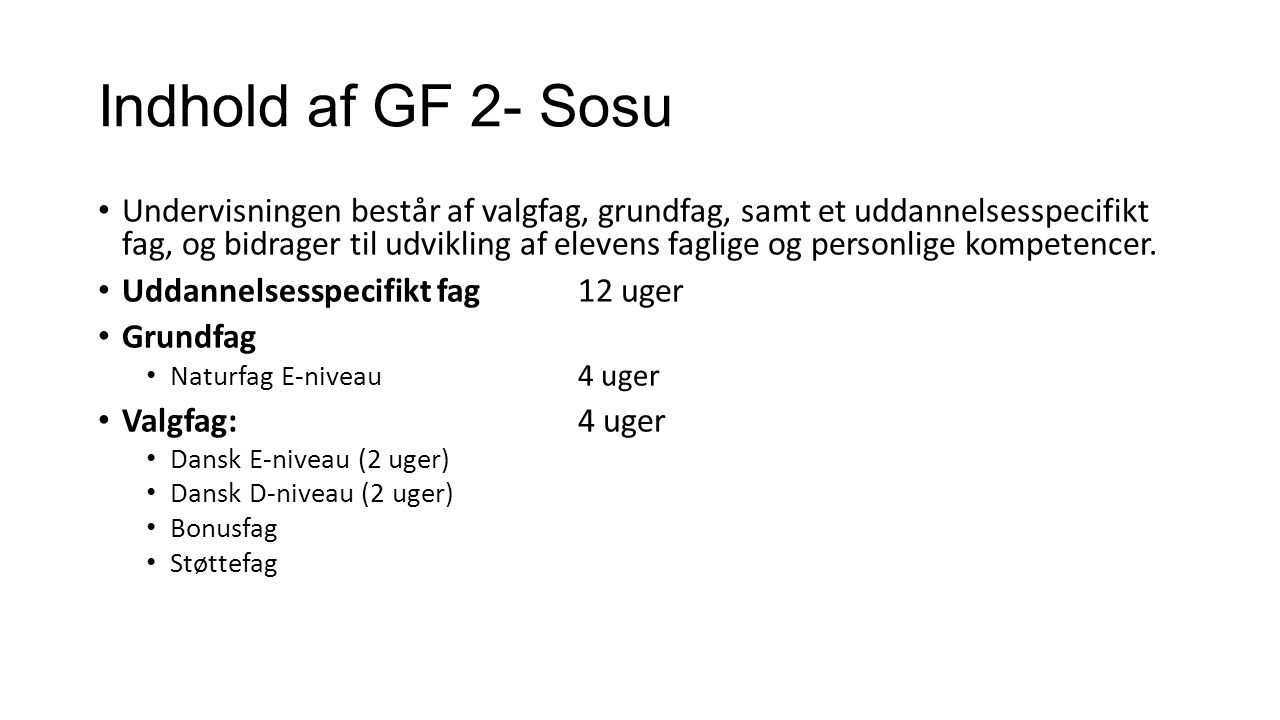 Indhold af GF 2- Sosu