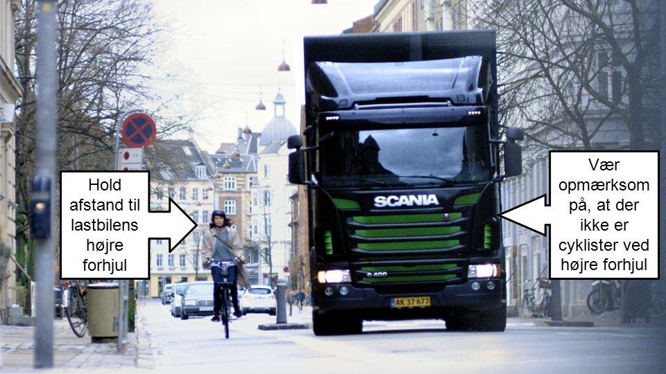 Vær opmærksom på, at der ikke er cyklister ved højre forhjul
