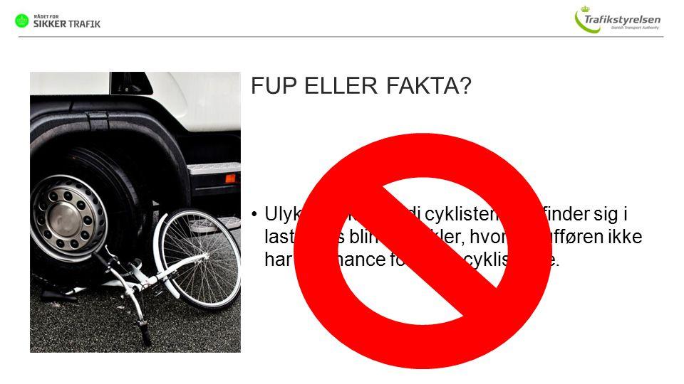 FUP ELLER FAKTA Ulykken sker, fordi cyklisterne befinder sig i lastbilens blinde vinkler, hvor chaufføren ikke har en chance for at se cyklisterne.