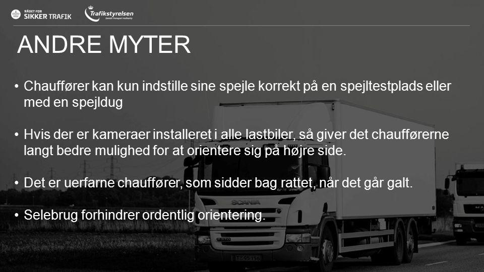 ANDRE MYTER Chauffører kan kun indstille sine spejle korrekt på en spejltestplads eller med en spejldug.