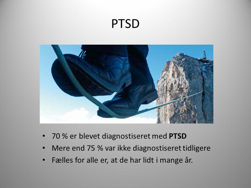 PTSD 70 % er blevet diagnostiseret med PTSD