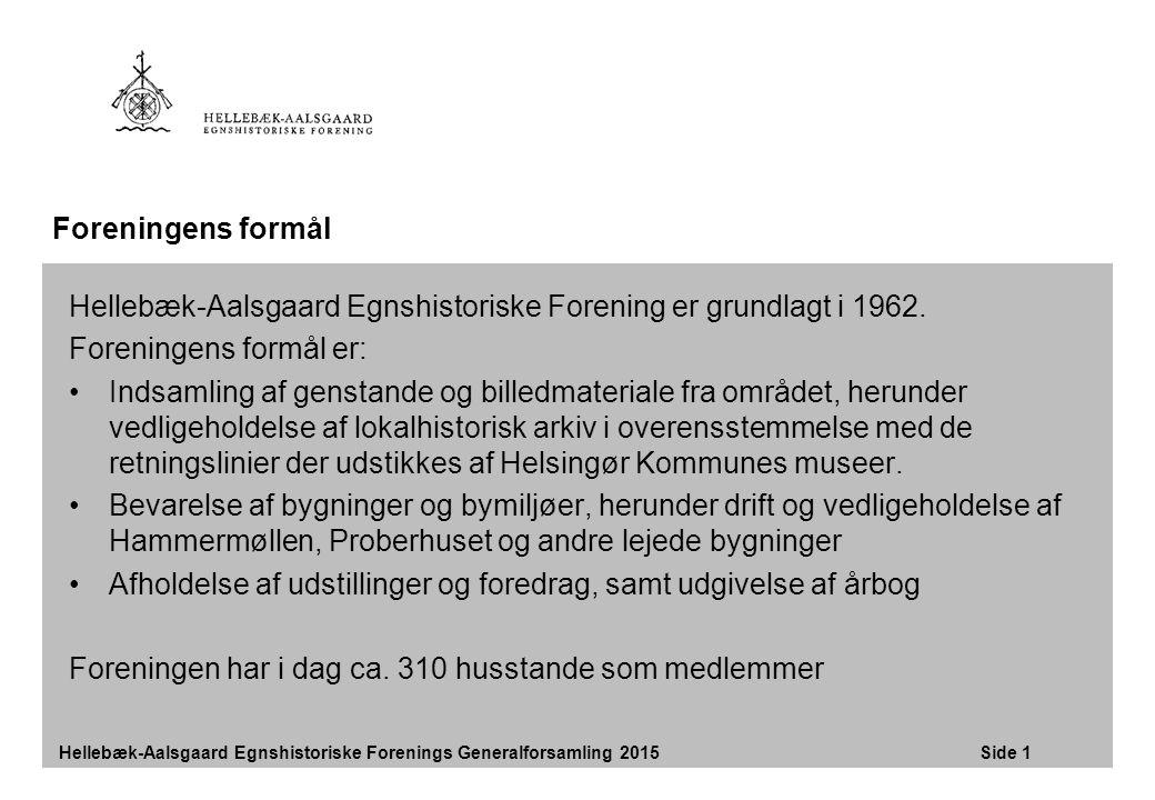 Hellebæk-Aalsgaard Egnshistoriske Forening er grundlagt i 1962.