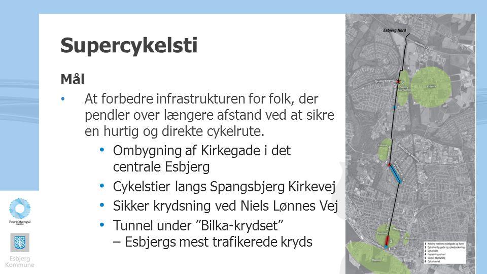 Supercykelsti Mål. At forbedre infrastrukturen for folk, der pendler over længere afstand ved at sikre en hurtig og direkte cykelrute.