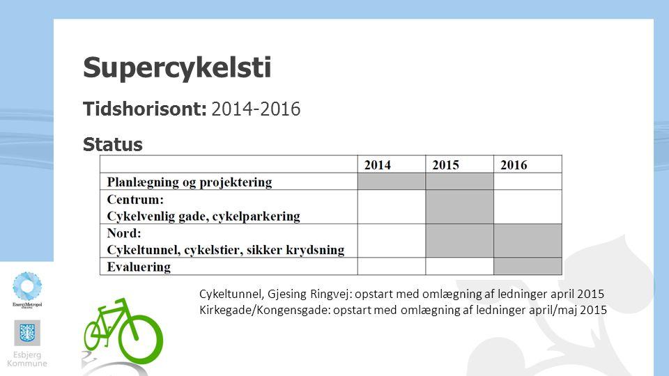 Supercykelsti Tidshorisont: 2014-2016 Status