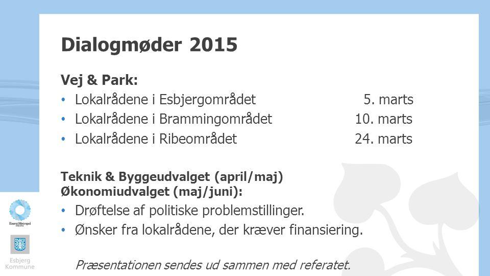 Dialogmøder 2015 Vej & Park: Lokalrådene i Esbjergområdet 5. marts