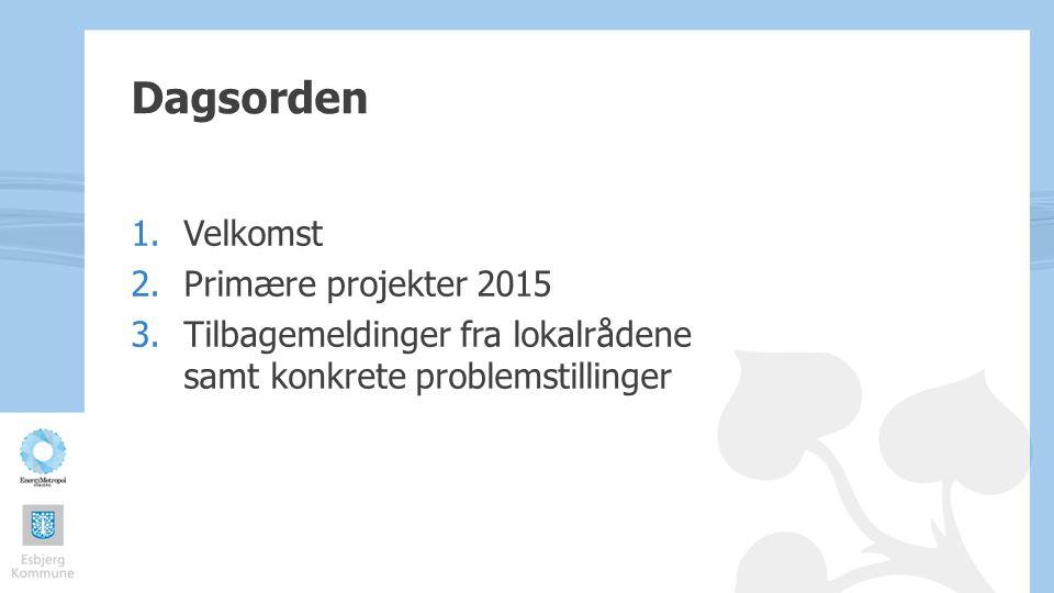 Dagsorden Velkomst Primære projekter 2015