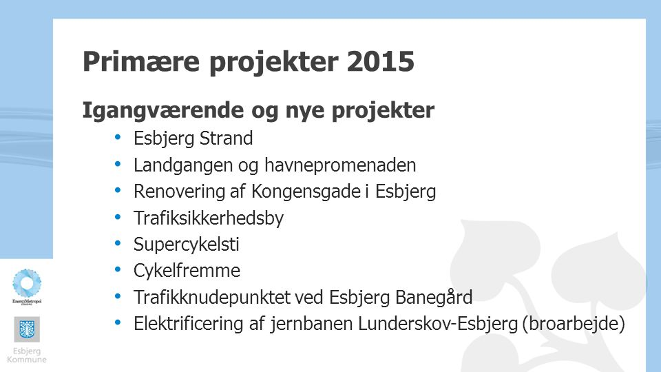 Primære projekter 2015 Igangværende og nye projekter Esbjerg Strand
