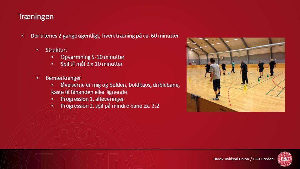 Træningen Der trænes 2 gange ugentligt, hvert træning på ca. 60 minutter. Struktur: Opvarmning 5-10 minutter.