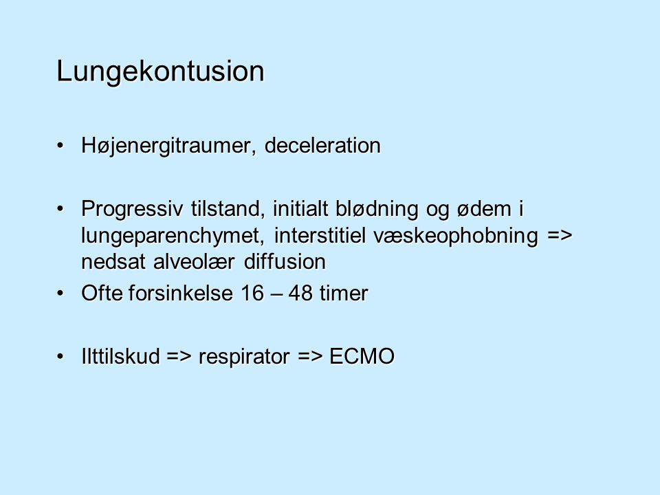 Lungekontusion Højenergitraumer, deceleration